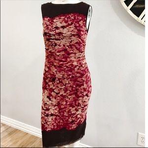 Kay Unger Sleeveless Mesh Bodycon Midi Dress